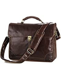 BAIGIO Brown Genuine Leather Large Messenger Satchel Shoulder Briefcase Business Bag
