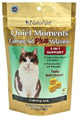 NaturVet CAT QUIET MOMENTS Calming Plus Melatonin Anxiety Relief 50 Soft Chews