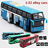 1:32 Alloy car Models,high Simulation City Bus , Metal diecasts, Toy Vehicles, Pull Back & Flashing & Musical, (Red)