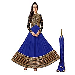 Typify Women's Georgette Unstitched Dress Material (TYPIFY258_Blue_Free Size)