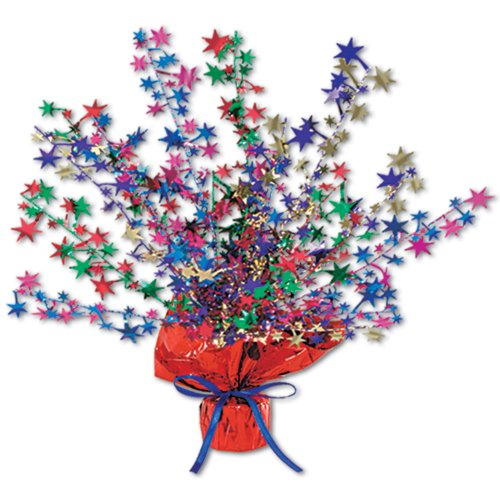 Beistle 50806-MC Star Gleam 'N Burst Centerpiece, 15-Inch