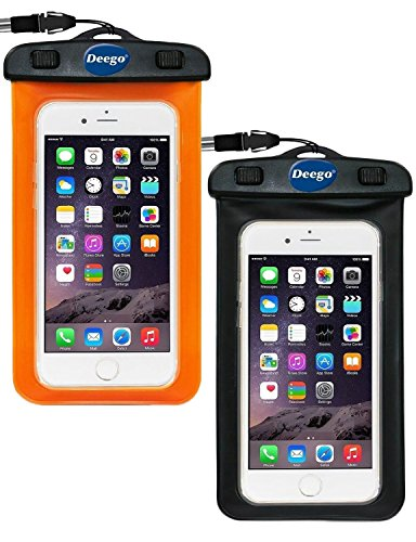 2-Pack-Universal-Waterproof-Case-Deego-Clear-Cell-Phone-Dry-Bag-Pouch-With-Armband-Neck-Strap-for-iPhone-7-SE-6s-6s-Plus-Galaxy-Note-7-S7-S7-Edge-up-to-60-diagonal-BlACKORANGE