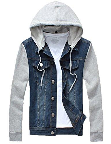 QZUnique Men's Plus Big and Tall Denim Jacket Detachable Hoody Coat Dark Blue US 2XL/Asian 5XL Big Tall Denim Jackets