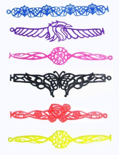 (1) New Funky Tattoo Bandz Silly Bands Styles and Colors Vary - 1