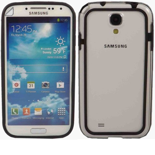 Bumper Fall Decken Haut Und LCD Screen Protector Für Samsung Galaxy S4 i9500 i9505 / Clear Black