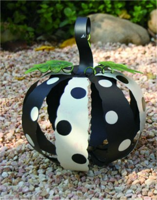 Set of 2 White & Black Metal Polka Dot Pumpkins Halloween Fall Autumn Decor