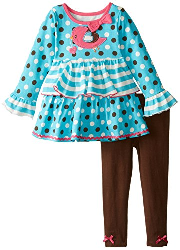 887847657631 - Nannette Little Girls' 2Pc Pant Set with Emblem On Pullover, Blue, 5 carousel main 0