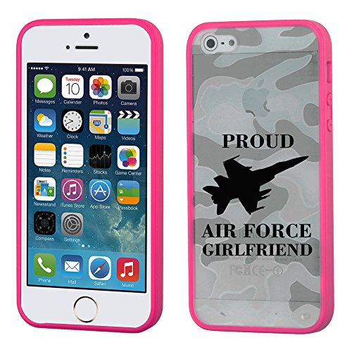 Iphone 5/5S Glassy Camo Proud Air Force Girlfriend/Hot Pink Gummy Cover - Lifetime Warranty