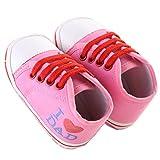 waylongplus Lienzo infantil Prewalker suave Suela antideslizante zapatos de cuna I Love Mum Dad Impresión Slip-On Zapatillas rosa Pink Dad Talla:13 (12-18 Months)