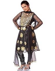Exotic India Black Shimmer Choodidaar Suit With Floral Appliqu Work - Black