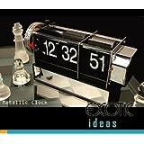 Retro Digital Auto Flip Page Desk Table Gear Alarm Clock Black