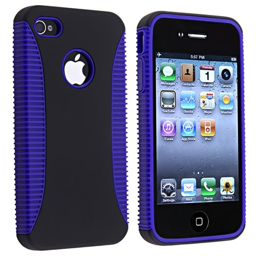 Hybrid Case compatible with Apple® iPhone® 4 AT&T / Verizon, Blue TPU / Black Plastic
