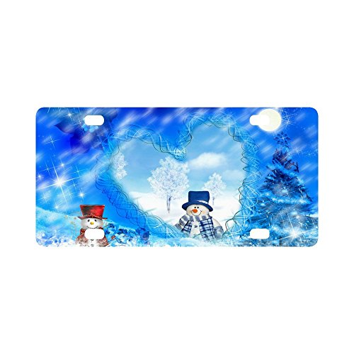 Merry Christmas Cute Snowman Strong And Durable Aluminum Car Metal License Plate Frame for Women/Men Four Holes Tag 12