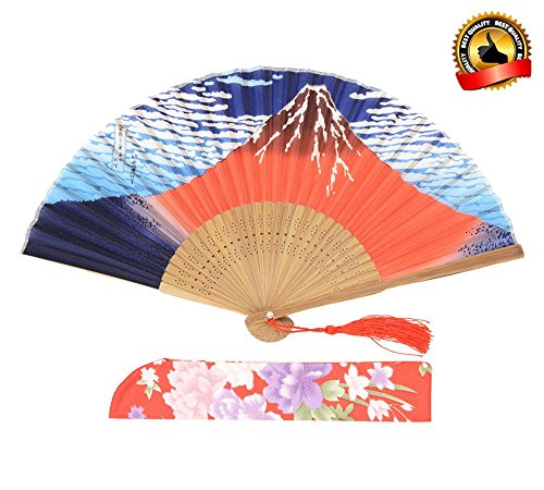 LYSA Women Hand Held Silk Folding Fan With,and Silk Tissue Protective Sleeve --- China/Japan Style of