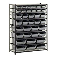 "Sandusky Lee UR4416BIN36 Black Zinc Steel Bin Shelving Unit with 36 Storage Bin, 57"" Height x 44"" Width x 16"" Depth"