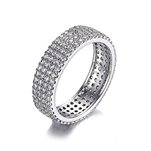 Jewelrypalace Women's Cubic Zirconia Eternity Anniversary Ring Wedding Band 925 Sterling Silver Size 7