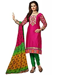 Pink Cotton Resham With Patch Patti Dress Material