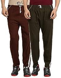 Gumber Pack of 2 Brown & Gray Solid Pyjamas (GE_VT_PJA_BRN_GRN_2PC)