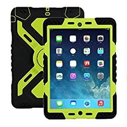 IPad Mini 3 & 2 & 1 Silicone Plastic Kid Proof Extreme heavy Duty Dual armor defender Protective Back Cover Case with Kickstand and Sticker for Apple iPad Mini & iPad Mini with Retina Display & iPad mini 3, Rainproof Sandproof Dust-proof Shockproof childproof full body proteciton case shell hot gift (BLACK+GREEN)