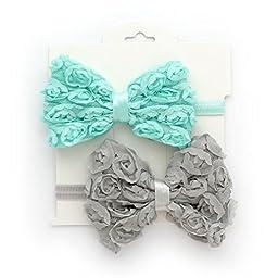 My Lello 2 Pack Infant Baby Mixed Colors Fabric Rose Bow Headbands (Aqua/Gray)