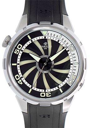 [ペルレ]PERRELET 腕時計 A1066/1 タービン ダイバー SS 黒文字盤 自動巻 ラバー メンズ [並行輸入品]