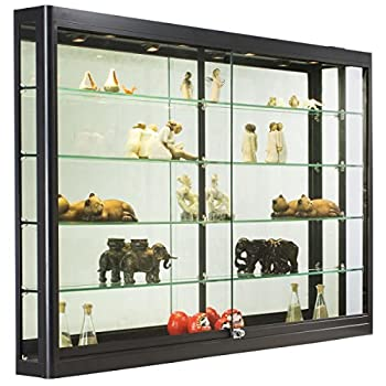 Wall-Mounted Tempered Glass And Black Aluminum Display Case, 60 x 39-1/2 x 6-Inch, 4 Halogen Top Lights And Sliding Locking Doors