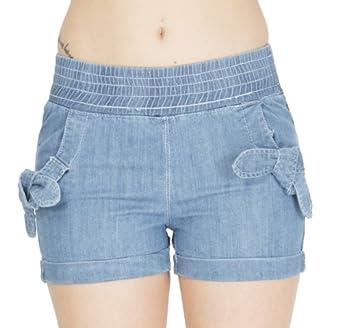 (4495786) Classic Designs Womens Denim Elastic High Waist Short Shorts (Sizes 3-24) in Sandy Blue Size: 3