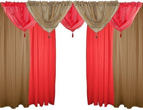 Voile Curtain KAFFEE, ROT, 9-TEILIG, 122 CM, VOILE 121.92 SCHLAUFENBAND VORHANGS DRAPES GARDINE CM, BOGENFORM, GEWEBT