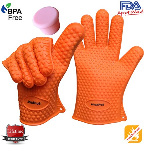 AmaziPro8 Heat Resistant Silicone BBQ Gloves + FREE Silicone wine plug/lid + FREE 8 Downloadable Recipe/Cooking Books comes with this Kitchen gloves - Cooking Gloves Heat Resistant - One Size Fits Most (Orange)