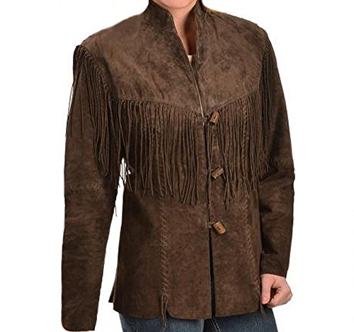 Celebrita X Women Western Cowboy Simple Fringes Leather Jacket CX45 Suede Dark Brown 3XL - For Bust ..