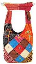 Hobo Bohemian Hippie Ripped Razor Cut Gypsy Embroidery Shoulder Sling Crossbody Wide Strap Heavy Duty Zipper Locking Inside Pocket Monk Bag Handmade Purse Nepal
