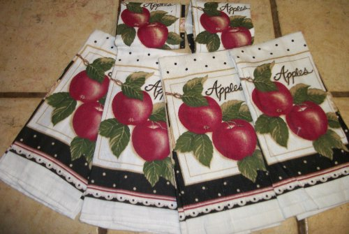 4 Apple DIsh Towels and 2 APPLe Dish Cloths
