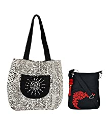 Combo of Beautiful Hand Embroidered Jholi with Black Small Sling Bag