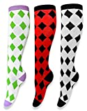 Peach Couture Ladies Diamond Argyle Knee High 3 Pair Variety Socks 4-10 Shoe
