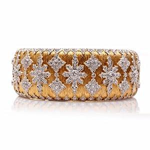 Estate 7.00cts Diamond 18k Gold Snowflake Bangle Bracelet