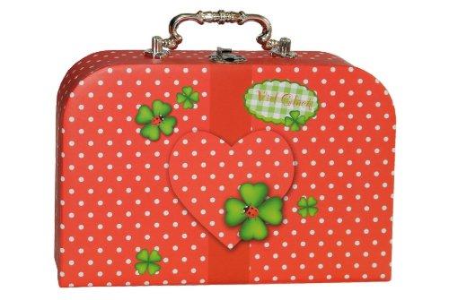 Kinderkoffer KLEIN rot weiße Punkte - Kleeblatt