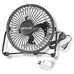 OPOLAR Mini USB Fan w/Charger Plug (Personal Desktop Fan, Metal Design; 3.9 feet USB Cable with 5V/1A USB Charger, Quiet Operation - Black)