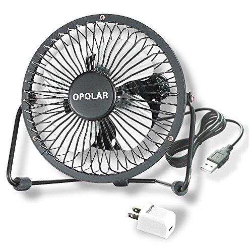 OPOLAR Mini USB Fan w/Charger Plug (Personal Desktop Fan, Metal Design; 3.9