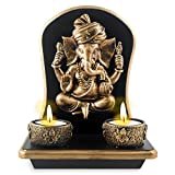 Archies Polyresin Ganesha Candle Holder (Gold, 15 cm x 8.5 cm x 19 cm)