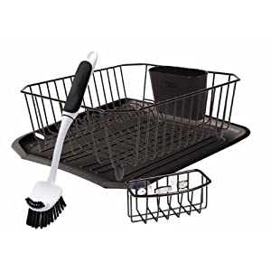 rubbermaid antimicrobial sink dish rack drainer set review