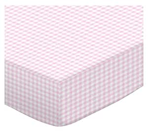 Fitted Oval Crib Sheet (Stokke Sleepi) - Pink Gingham Jersey Knit - Made In USA - 26 inches x 47 inches (66 cm x 119.4 cm)