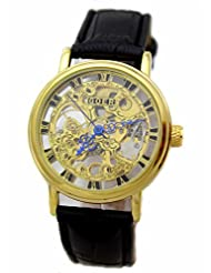 GT Gala Time Skeleton Mechanical Hand Winding Black Leather Strap Gold Case Wrist Watch For Men MECH-022