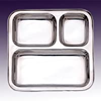 SSSILVERWARE Stainless Steel Three Compartment Square Plate / Thali/ Mess Tray/ Dinner Plate Set Of 1 Pcs- 24.5...