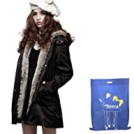 Zicac Women's Thicken Fleece Faux Fur Warm Winter Coat Hood Parka Overcoat