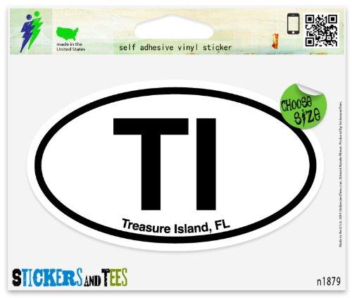 TI Treasure Island Florida Oval Vinyl Car Bumper Window Sticker 5