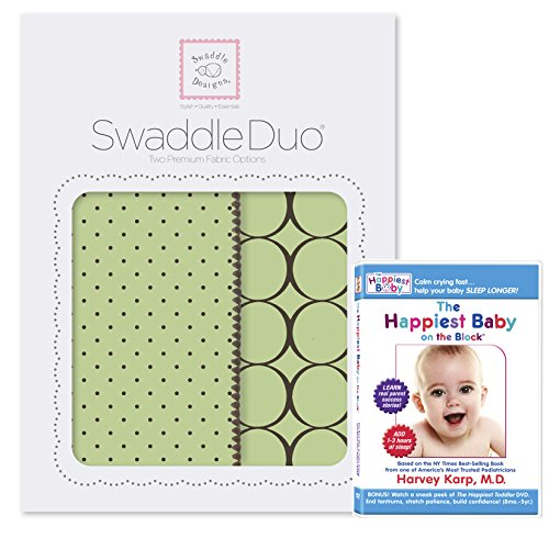 SwaddleDesigns SwaddleDuo 2pack Plus The Happiest Baby DVD Bundle, Modern Duo, Lime