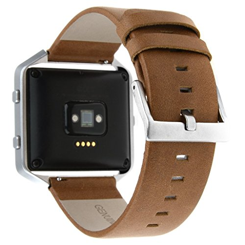 Fitbit Blaze Accessory Band ,Henoda 23mm Genuine Leather Bands Bracelet Strap for Fitbit Blaze Smart Fitness Watch (Wood Brown (Retro Style), L/G Size)