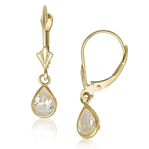 14ct Yellow Gold April Birthstone Clear CZ Pear Drop Leverback Earrings - Measures 25x6mm