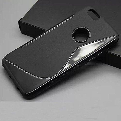 Coque en TPU Silicone Peau Noir Coque en gel silicone S-Line Film protecteur pour Apple iPhone 3S Plus Coque Housse