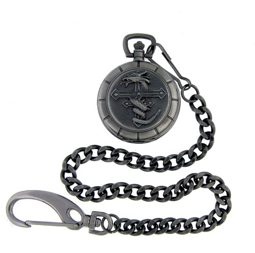 Nemesis Dragon Cross Gunmetal Pocket Watch with Chain